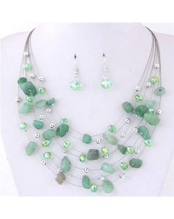Crystal Stones and Seashell Beads Necklace Multi-layer Fashion Necklace and Earrings Set - Green