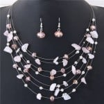 Crystal Stones and Seashell Beads Necklace Multi-layer Fashion Necklace and Earrings Set - Pink