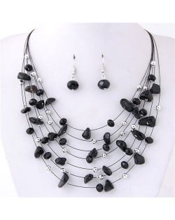 Crystal Stones and Seashell Beads Necklace Multi-layer Fashion Necklace and Earrings Set - Black
