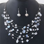 Crystal Stones and Seashell Beads Necklace Multi-layer Fashion Necklace and Earrings Set - White