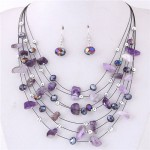 Crystal Stones and Seashell Beads Necklace Multi-layer Fashion Necklace and Earrings Set - Violet