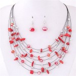 Crystal Stones and Seashell Beads Necklace Multi-layer Fashion Necklace and Earrings Set - Red