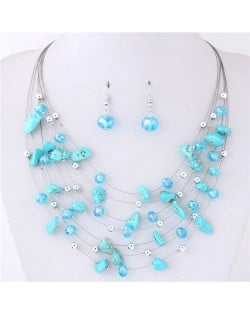 Crystal Stones and Seashell Beads Necklace Multi-layer Fashion Necklace and Earrings Set - Blue