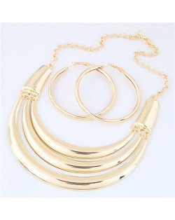 Glossy Golden Arch Design High Fashion Alloy Necklace