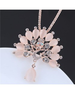 Peacock Fashion Opal and Rhinestone Alloy Costume Necklace