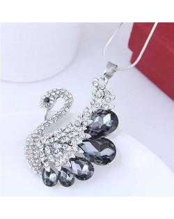 Glass Gem Embellished Elegant Swan Long Chain Fashion Necklace - Gray