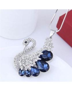 Glass Gem Embellished Elegant Swan Long Chain Fashion Necklace - Blue