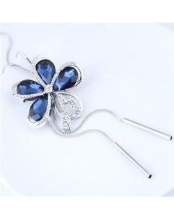Rhinstone and Glass Combo Design Flower Pendant High Fashion Necklace