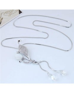 Rhinestone Embellished Leaves and Waterdrop Design Fashion Costume Necklace