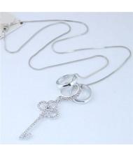 Rhinestone Embellished Key Pendant Women Fashion Statement Necklace