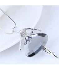 Rhinestone Embellished Glass Ballet Dancer Pendant Women Fashion Necklace