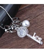 Rhinestone Embellished Love Key Pendant Women Statement Necklace