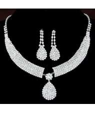 Rhinestone Embellished Bridal Shining Fashion Necklace and Earrings Set