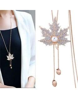 Pearl Inlaid Rhinestone Maple Pendant Design Long Chain Women Costume Necklace - Golden