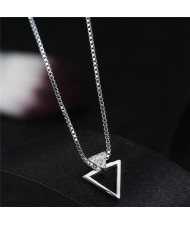 Cubic Zirconia Embellished Triangle Pendant Fashion Necklace
