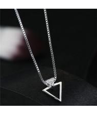 Cubic Zirconia Embellished Triangle Pendant Fashion Necklace