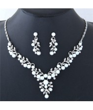 Pearl and Rhinestone Inlaid Twigs and Leaves Design Fashion Necklace and Earrings Set - Silver