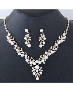 Pearl and Rhinestone Inlaid Twigs and Leaves Design Fashion Necklace and Earrings Set - Golden