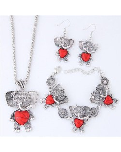 Artificial Turquoise Embellished Cute Elephant Design Costume Necklace Bracelet and Earrings Set - Red