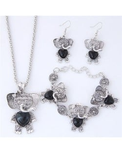 Artificial Turquoise Embellished Cute Elephant Design Costume Necklace Bracelet and Earrings Set - Black