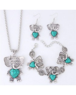 Artificial Turquoise Embellished Cute Elephant Design Costume Necklace Bracelet and Earrings Set - Green
