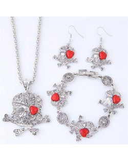 Artificial Turquoise Inlaid Skull Fashion Necklace Bracelet and Earrings Set - Red