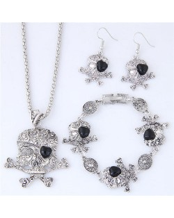 Artificial Turquoise Inlaid Skull Fashion Necklace Bracelet and Earrings Set - Black
