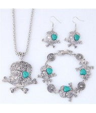 Artificial Turquoise Inlaid Skull Fashion Necklace Bracelet and Earrings Set - Green