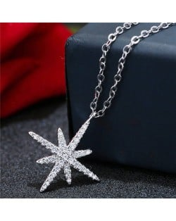 Cubic Zirconia Embellished Glistening Star Pendant Fashion Statement Necklace
