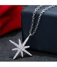Cubic Zirconia Embellished Glistening Star Pendant Fashion Statement Necklace