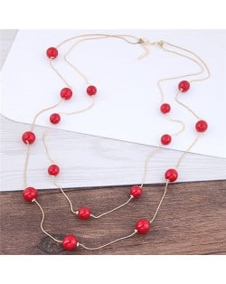 Pearl Decorated Fair Maiden Fashion Dual-layer Costume Necklace - Red
