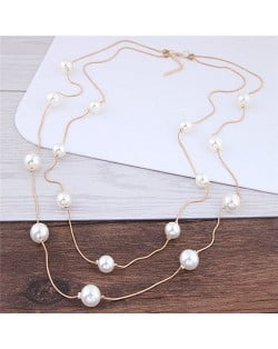 Pearl Decorated Fair Maiden Fashion Dual-layer Costume Necklace - White