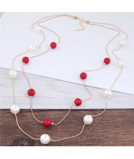 Pearl Decorated Fair Maiden Fashion Dual-layer Costume Necklace - Red and White
