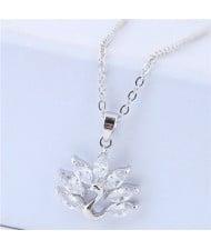 Cubic Zirconia Peacock Pendant Korean Fashion Necklace - Silver