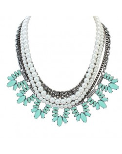 Multi-layer Pearl Fashion Resin Leaves Decorated Women Statement Necklace - Light Blue