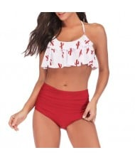Lotus Leaf Edge Design Split Bikini Fashion Women Swimwear - White and Red