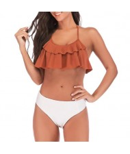 Lotus Leaf Edge Design Split Bikini Fashion Women Swimwear - Brown and White
