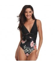 Flower Printing One-piece Design Fashion Women Swimwear - Black