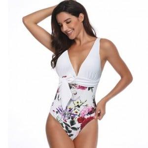 Flower Printing One-piece Design Fashion Women Swimwear - White