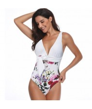 Flower Printing One-piece Design Fashion Women Swimwear - White