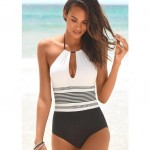 Black and White Contrast Color Strips Design One-piece Fashion Women Swimwear