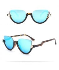 9 Colors Available Half Frame Vintage Design High Fashion Sunglasses