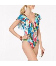 Flowers Printing Lotus Leaf Edge One-piece Design Bikini Fashion Women Swimwear