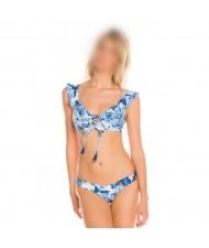 Lotus Leaf Edge Split with Bandage Design Bikini Fashion Women Swimwear - Blue Flower