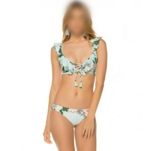 Lotus Leaf Edge Split with Bandage Design Bikini Fashion Women Swimwear - Green Flower