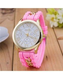 Simple Design Chain Decorated Women Wrist Watch - Pink