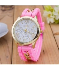 Simple Design Chain Decorated Women Wrist Watch - Pink