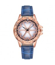 8 Colors Available Rhinestone Embellished Floral Pattern Index Design Leather Wrist Watch