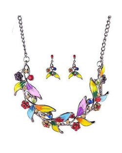 Graceful Oil-spot Glazed Leaves and Flower Design Fashion Costume Necklace and Earrings Set - Multicolor