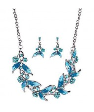 Graceful Oil-spot Glazed Leaves and Flower Design Fashion Costume Necklace and Earrings Set - Blue